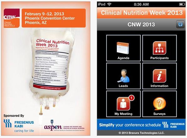 Sample screenshot of the CNW13 app.